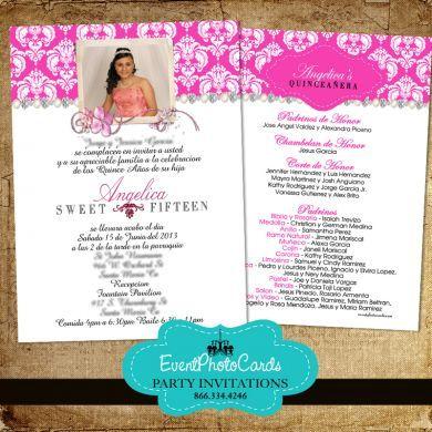 Pink Sweet Fifteen Invitations Quinceanera Photo Invitations