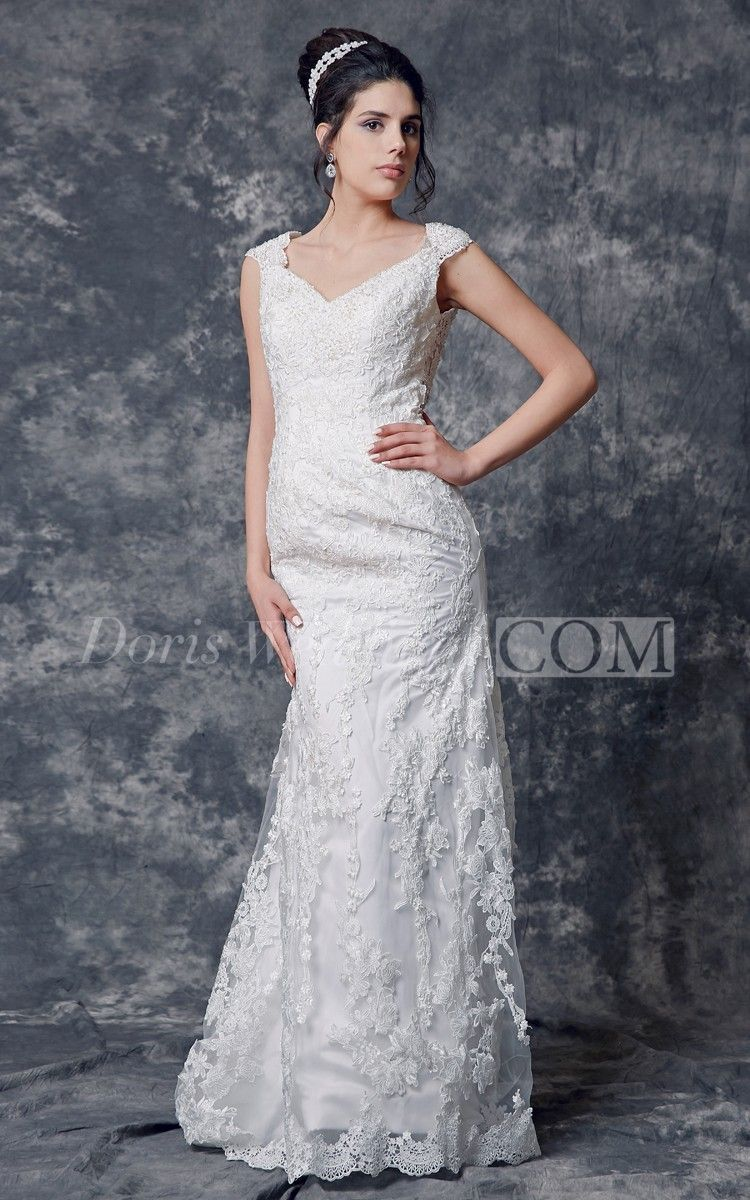 Capsleeved lowv neck sheath lace wedding dress with backless