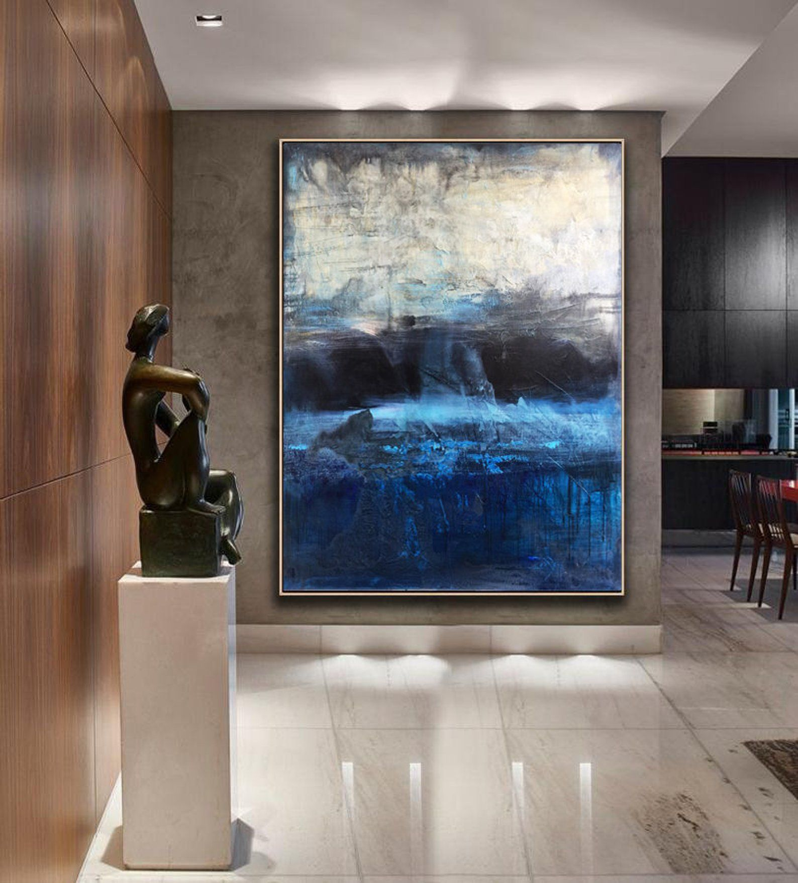 large original abstract painting blue canvas art gray black oil living room abstrakte malerei abstrakt blaue leinwand kunst familienfoto auf günstig drucken