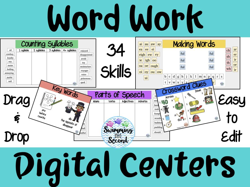 Word Work Digital Centers – 34 weeks of word work centers perfect for word building, spelling, word patterns, and more. Students can manipulate the letters using Google Classroom or Google Slides with activities for making words, counting syllables, parts of speech, key words, and a crossword puzzle. Easy to implement and will last for the entire school year.