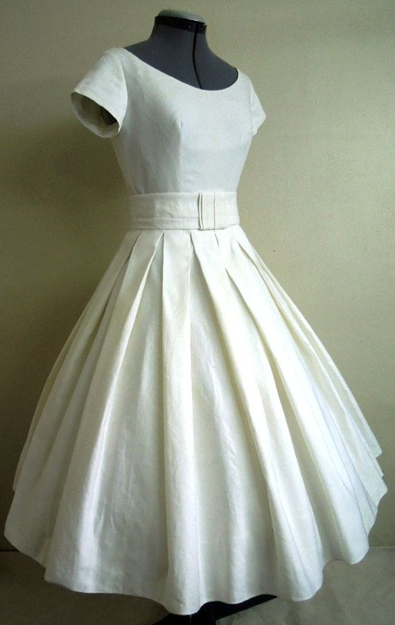 Simple and cute elegant 50s style dress made from by