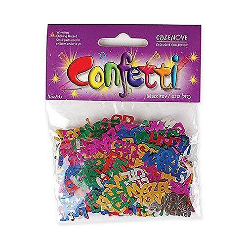 Multicolored Mazel Tov in Hebrew  English Confetti, Jewish - confeti