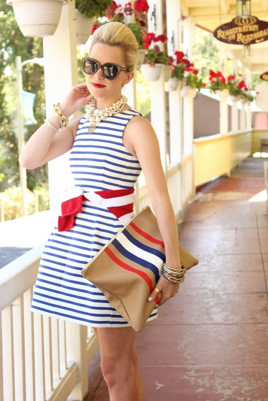 01976747c4f0 Blue and white striped dress with a red accent belt and matching clutch. A  great way to display your patriotic side this 4th of July celebration