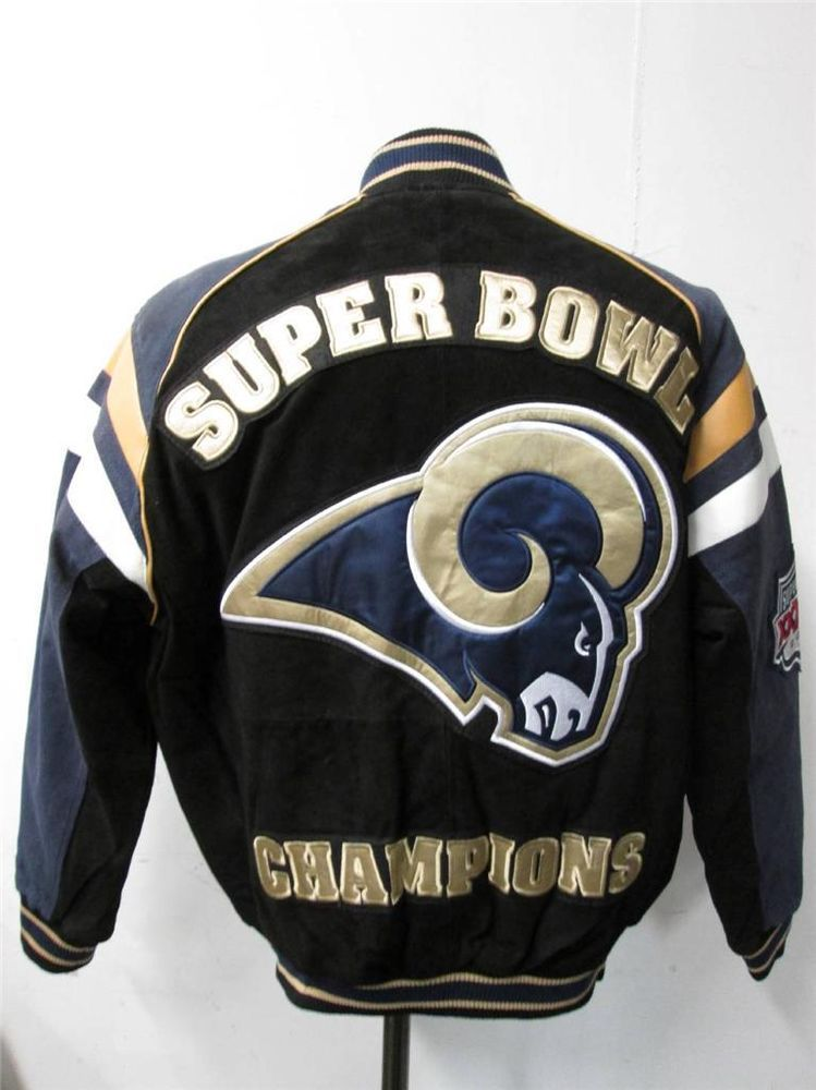 factory price 4a421 92c12 St Louis Rams Mens Large Superbowl XXXIV Champions Suede ...