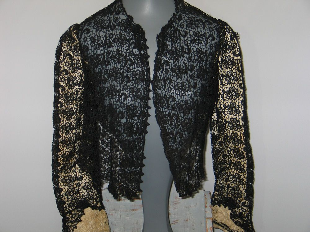 Expertly tailored Beautiful antique Victorian bodice blouse made of very fine black silk lace. The interior at one time had an off white silk lining that is still present in the sleeves. the silk that once lined the main body of the blouse has deteriorated and is missing. | eBay!
