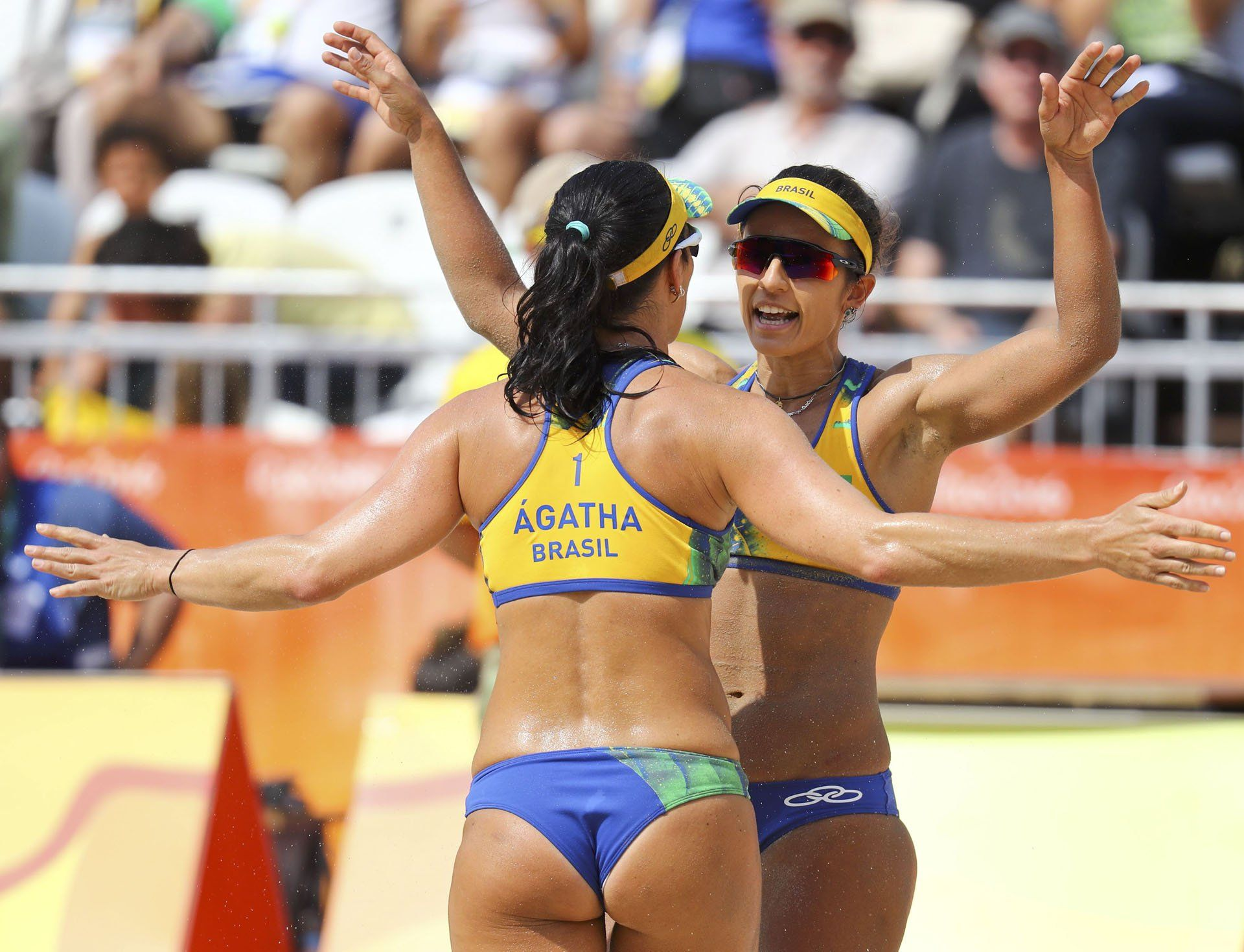 Arms And Legs Aloft Female Volleyball Players Olympics Volleyball Players