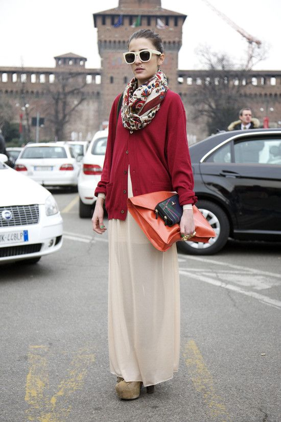Red Cardigan with Sheer Skirt and Orange Clutch and Green Plaid VIVIENNE WESTWOOD Clutch