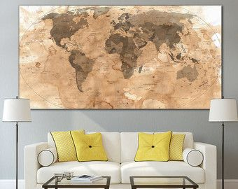 Wall Art World Map Canvas Print World par ZellartCo