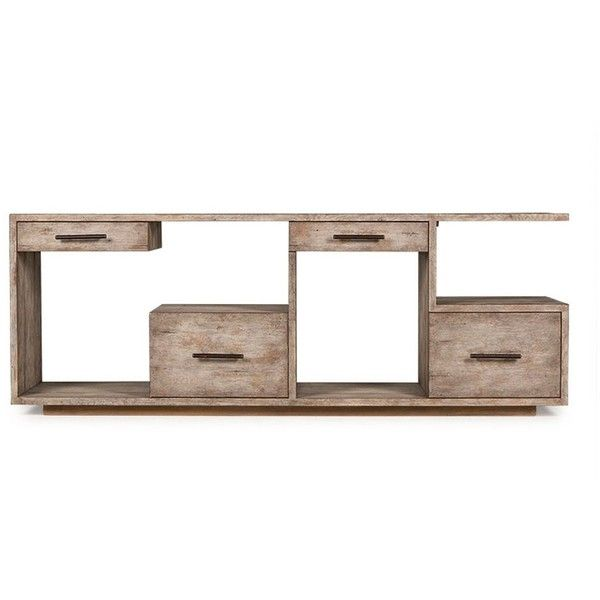 Luxury Debbie Driftwood 4 Drawer Media Console 41 160 MXN ❤ liked on Polyvore featuring home For Your House - Fresh Driftwood sofa Table In 2019