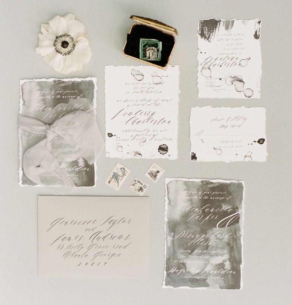 Watercolor Moody Gray And White Romantic Wedding Invitations