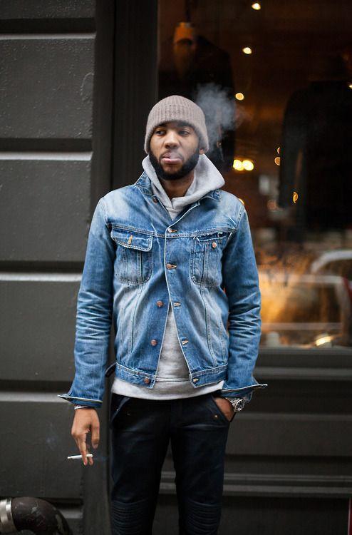 Men's Blue Denim Jacket, Grey Hoodie, Black Jeans, Grey Beanie ...