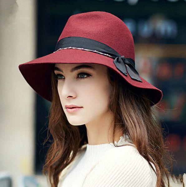 Bow wide brim fedofa hat for women fashion felt hats winter wear ... d543e637dc6