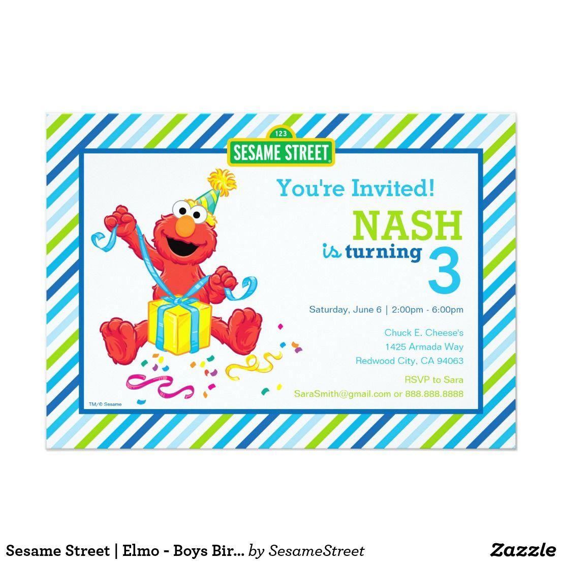 Sesame Street Elmo Boys Birthday Striped Invit Card Sesame
