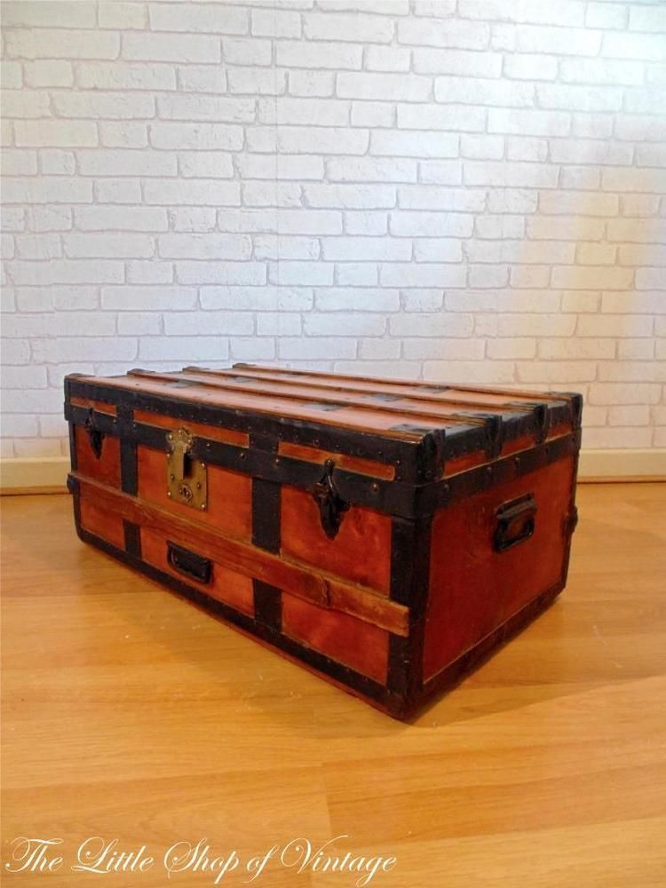 Vintage Banded Steamer Trunk Storage Chest Ottoman Toy Box Small