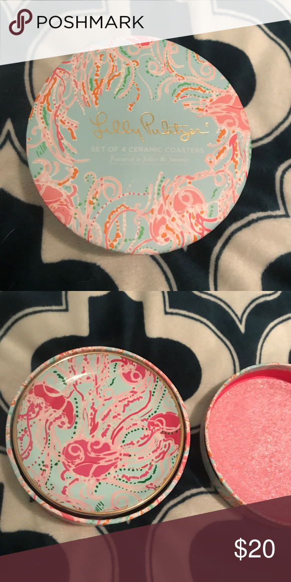Lilly Pulitzer coaster set jellies be jammin' Brand new in box coaster set! Lilly Pulitzer Accessories