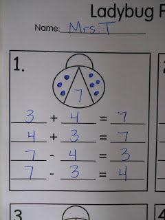 Fact Families ~ Art Project & Record Sheet ~ Mrs. T's First Grade Class: Ladybugs