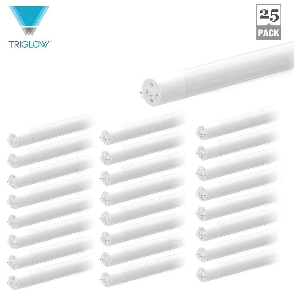 TriGlow 12-Watt 4 ft. Hybrid (Works with or without Ballast) T8 Linear LED Light Bulb 5000K DayLight (25-Pack) #ledtechnology