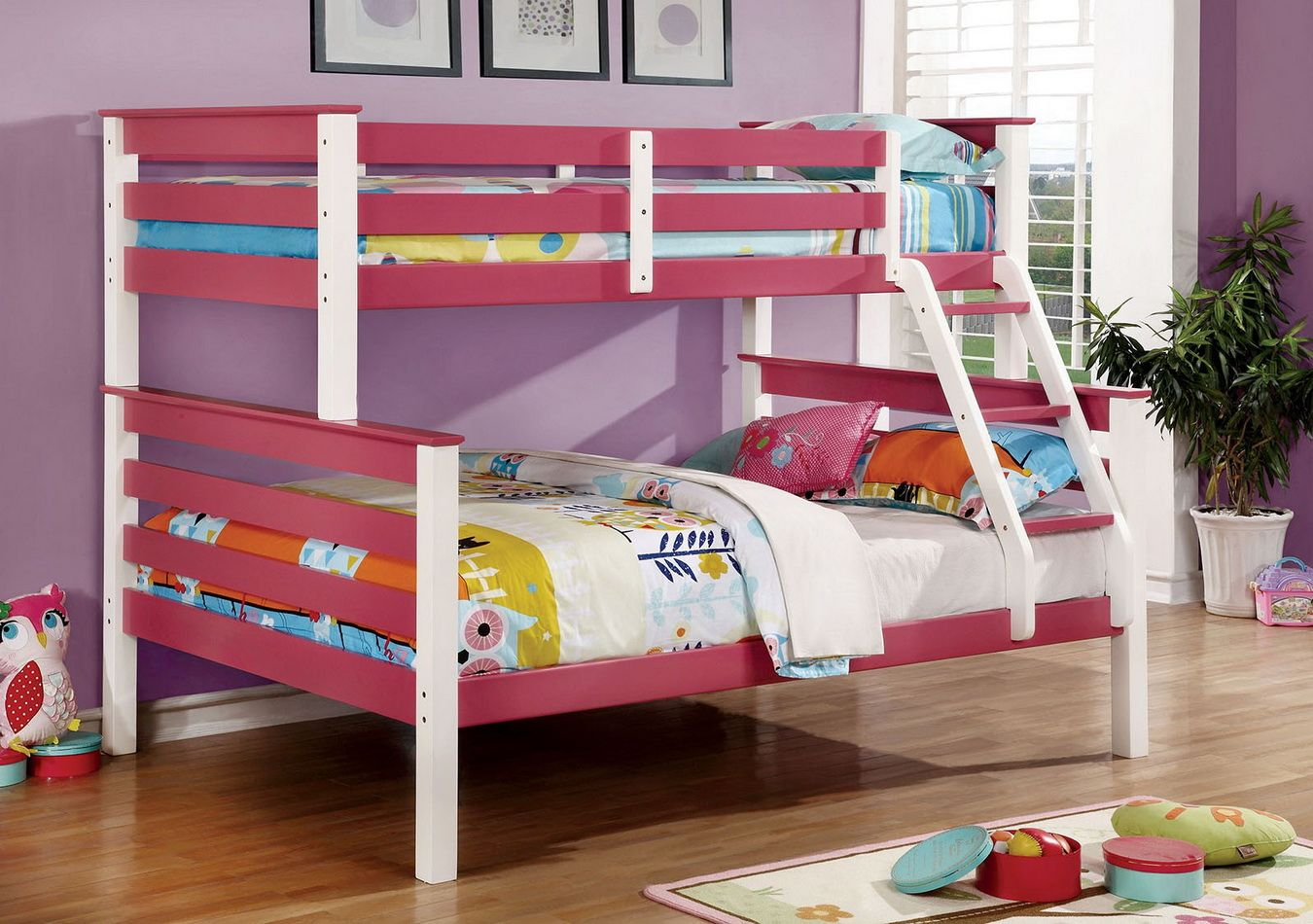 lorren twin over full bunk bed in pink by furniture of america
