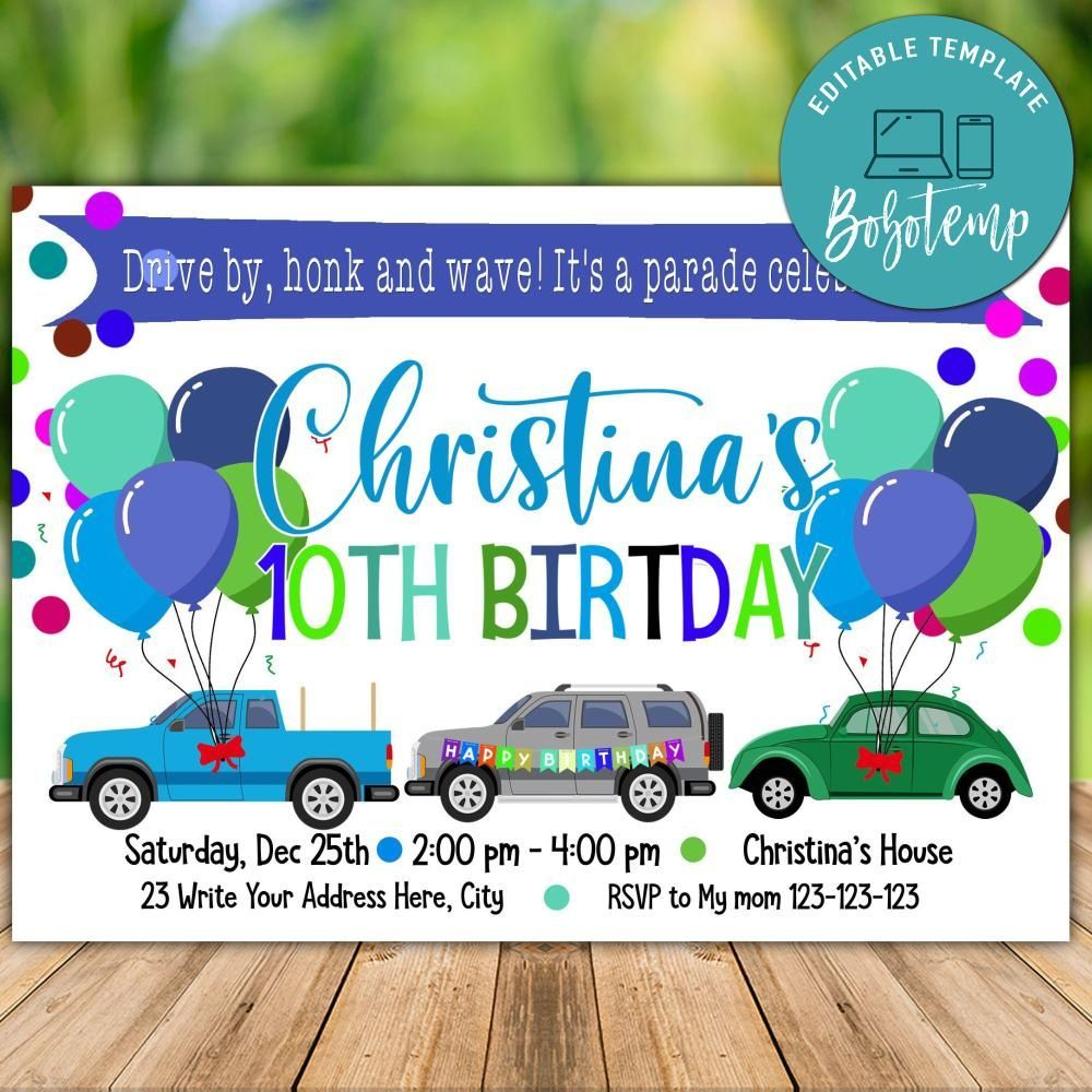 Printable Drive By Parade Birthday Invitation Instant Download In 2020 Birthday Invitations Boy Birthday Invitations Party Invite Template