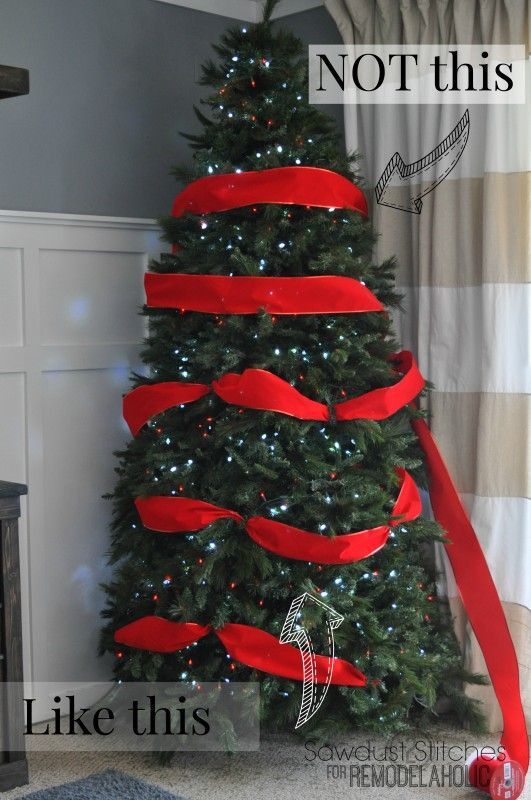 How To Decorate A Christmas Tree Like A Professional Remodelaholic Sawdust2stitch Christmas Tree Decorations Ribbon On Christmas Tree Christmas Decorations