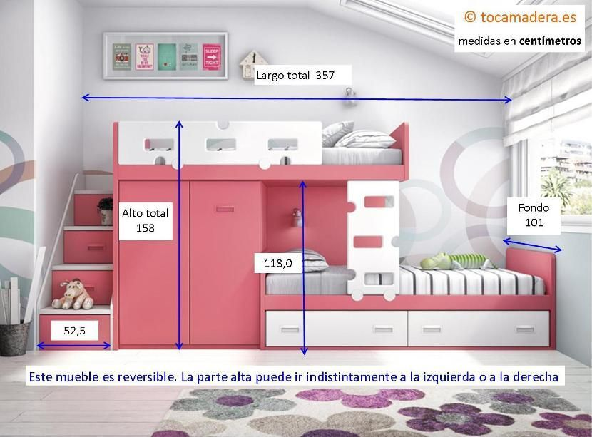 Cama tren con escalera contenedora literas en 2019 - Escaleras para camas nido ...