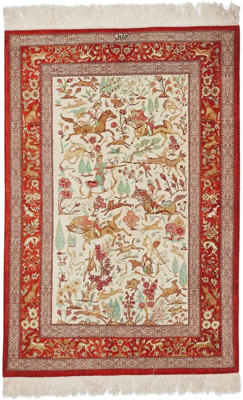 Handknotted oriental rug qom x cm small oriental rugs