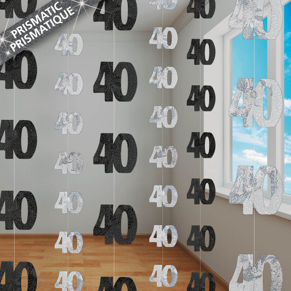 6 black glitz 40th birthday 5ft string decorations 40 for 40th birthday decoration ideas
