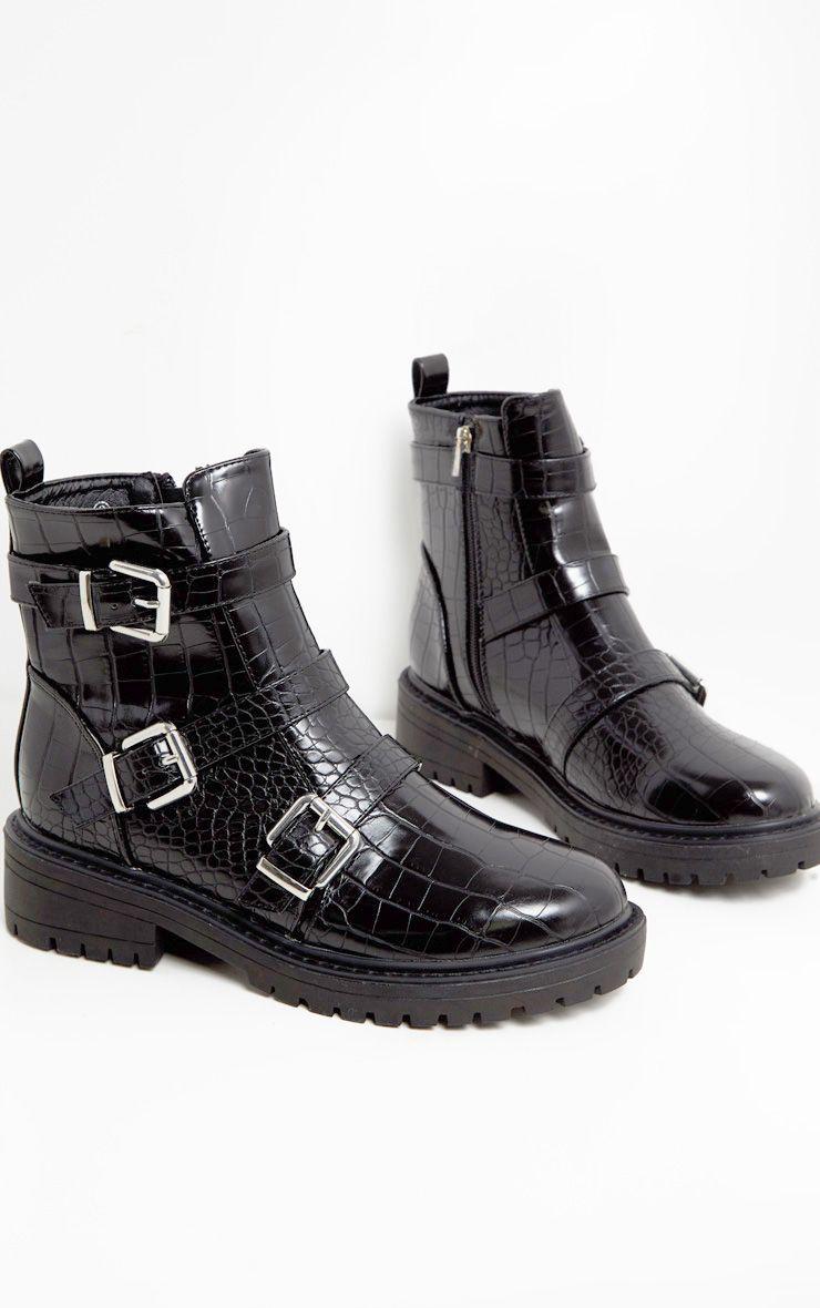 Black Triple Strap Buckle Biker Boot in