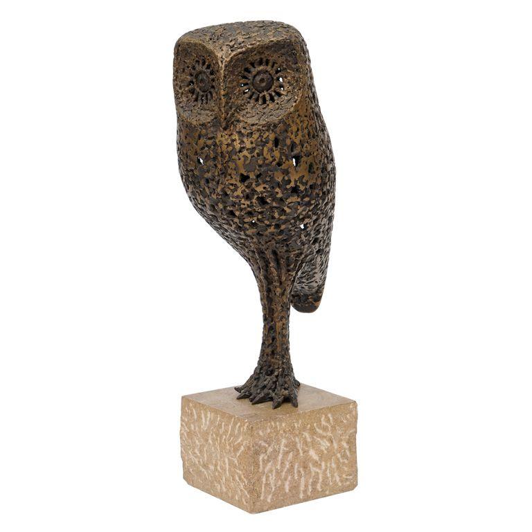 Tall Bronze Owl Sculpture By Robert Rigot Signed In 2019