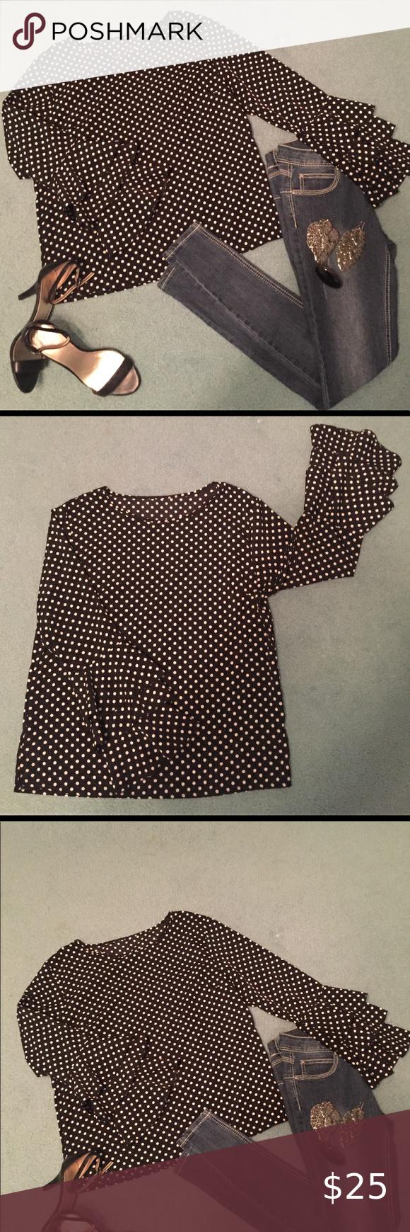 Polka Dots and Ruffled Sleeved Blouse