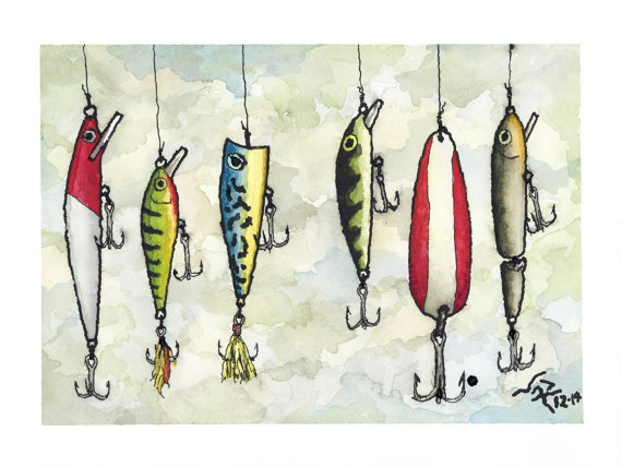 Art Print Fishing Lures Ink Watercolor Watercolor Fish