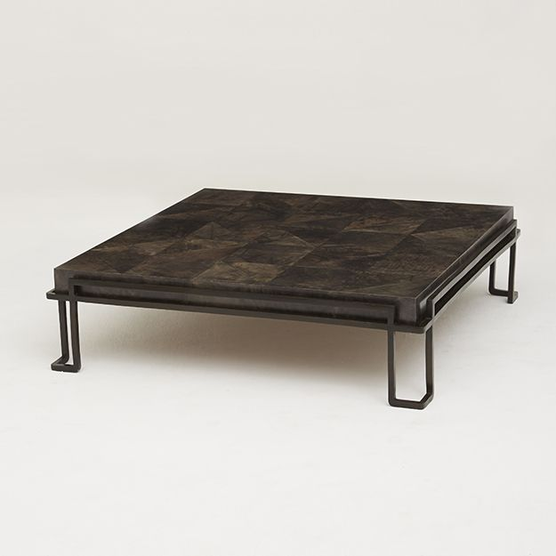 Largo Coffee Table With Parchment Surface And Bronze Base
