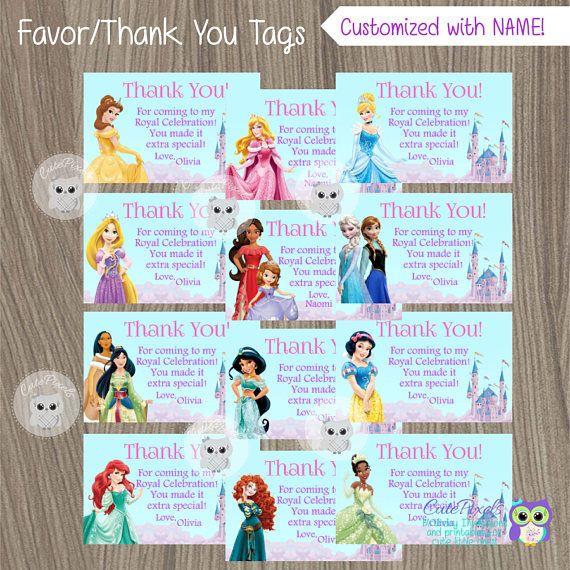 Disney Princess Thank You Tags Princess Thank You Notes