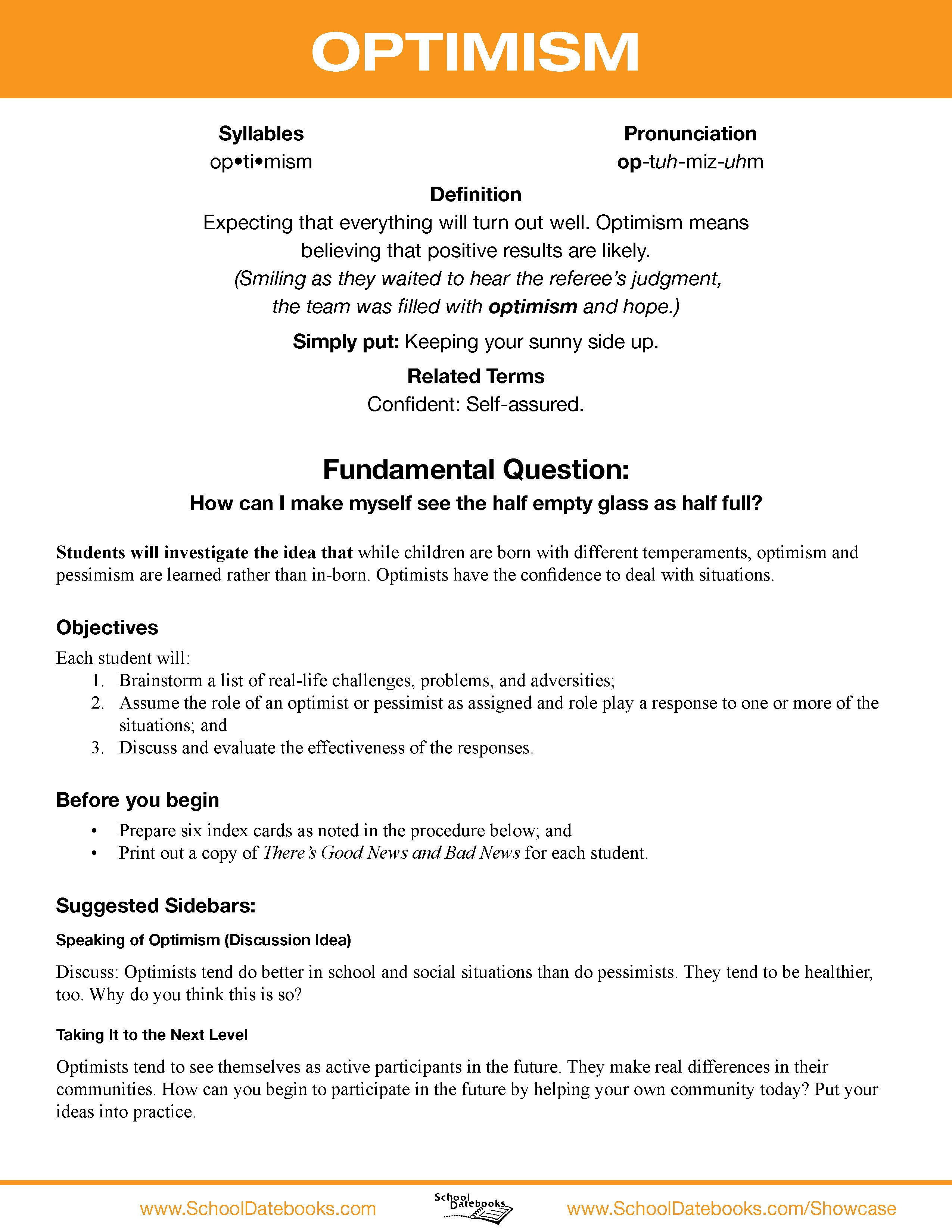 optimism character lesson plan free downloadable 52 total