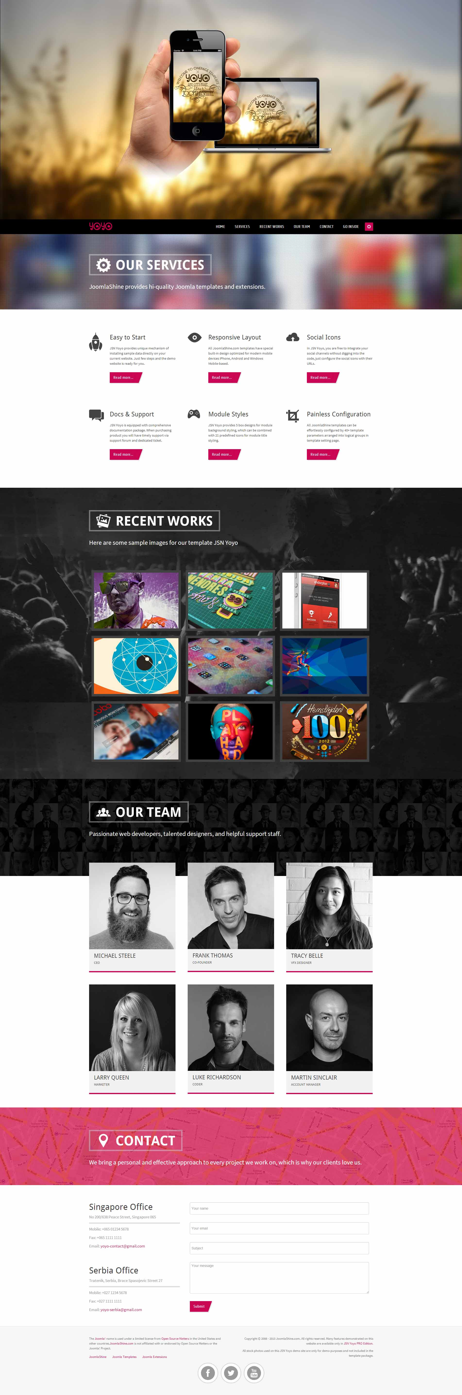 JSN Yoyo – our first one page template is on hand joomla template