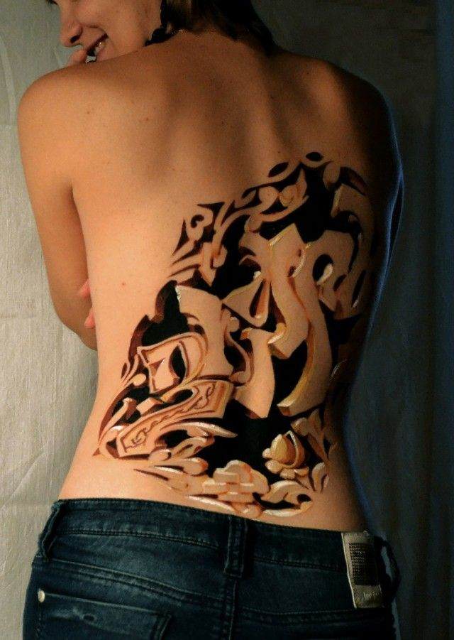 3d Carving Graffiti Body Art Znag Russia I Love Body Art Tattoos Best 3d Tattoos 3d Tattoos