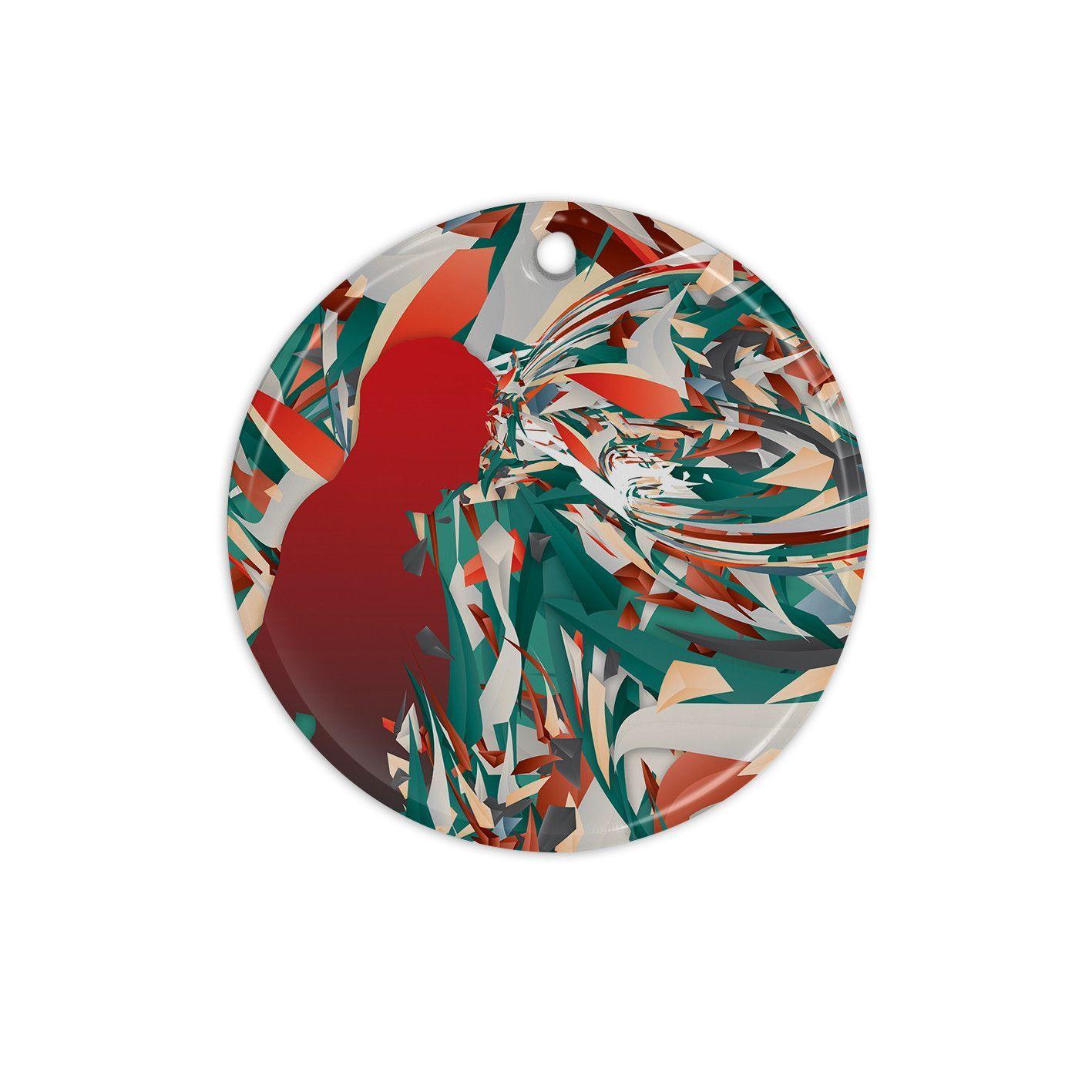 "Danny Ivan ""Soccer Headshot"" Teal Red Ceramic Circle Ornament"