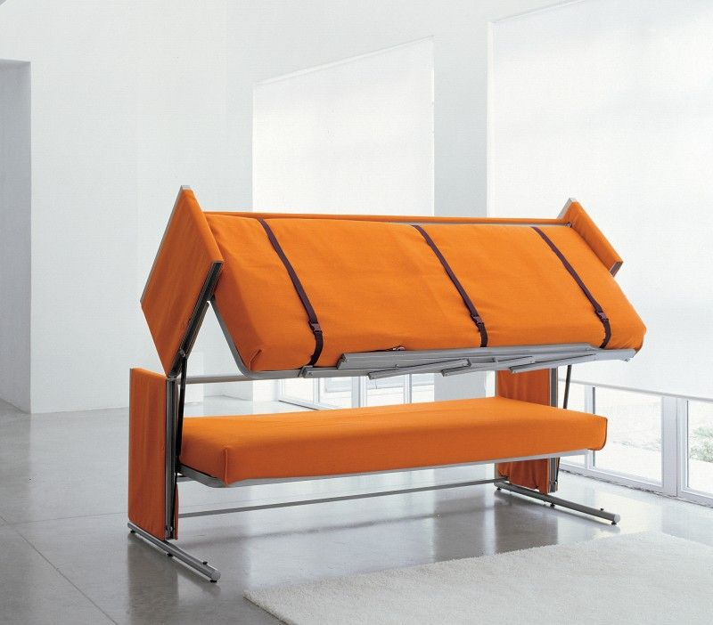 Beau Canape Gain De Place Convertible #8: Orange Sofa