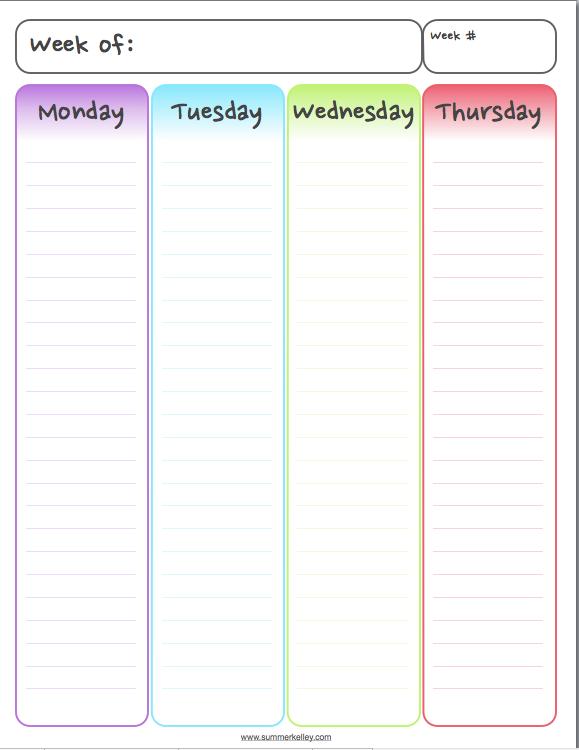 left weekly calendar page of free printable planner my portfolio