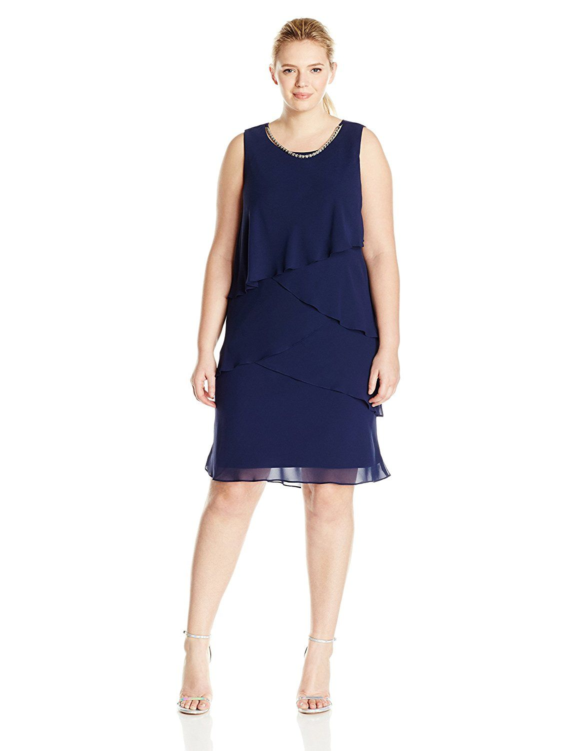 Sl Fashions Womens Plus Size Sleeveless Tiered Dress With