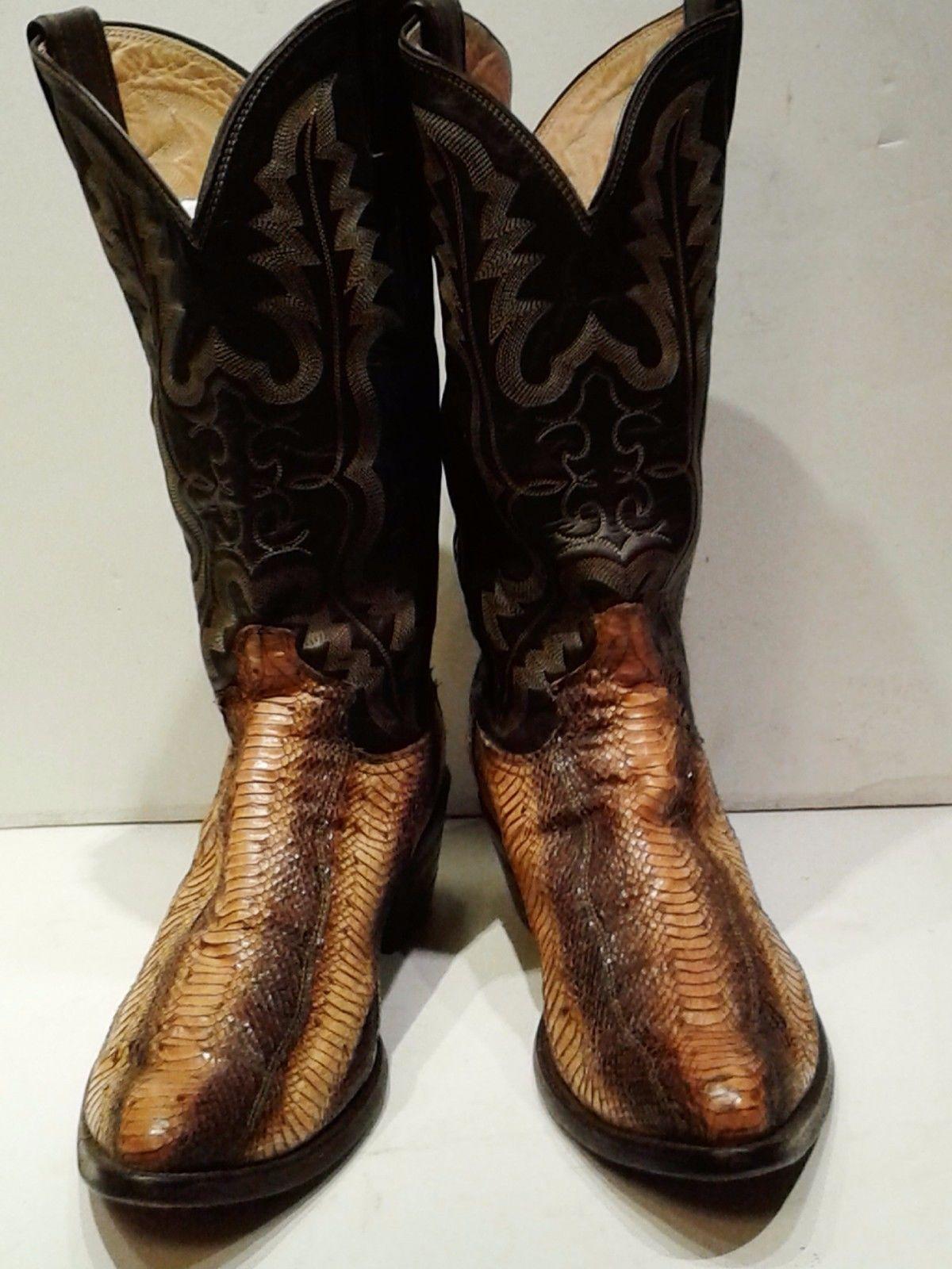 6e60f97af95 Men's Vintage Python Snakeskin Justin Cowboy Leather Boots 9 1/2 D ...