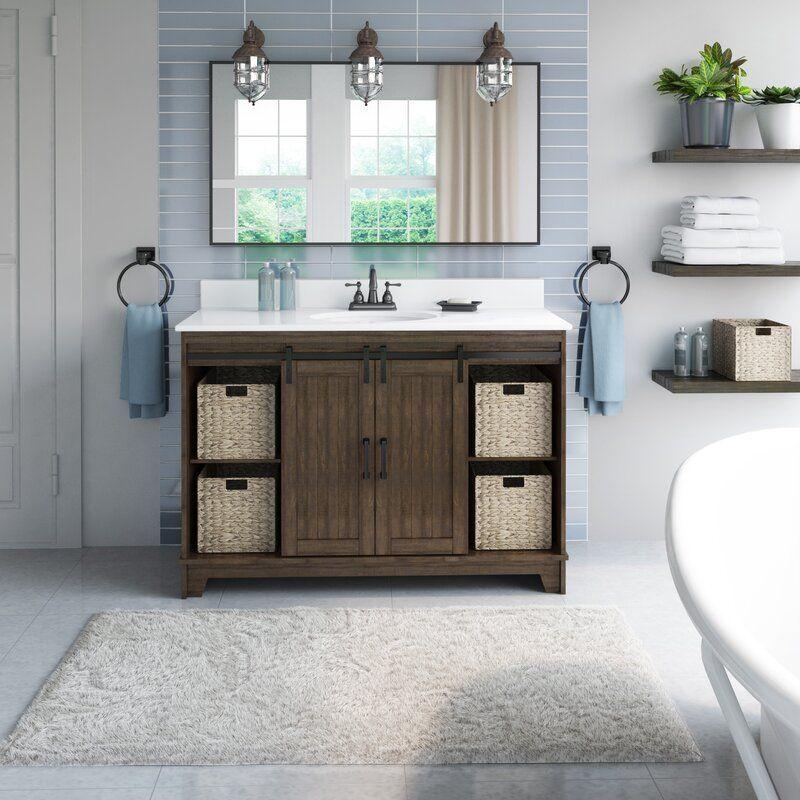 Trogdon Sliding Barn Door 49 Single Bathroom Vanity Set In 2020 Single Bathroom Vanity Bathroom Vanity Barn Door