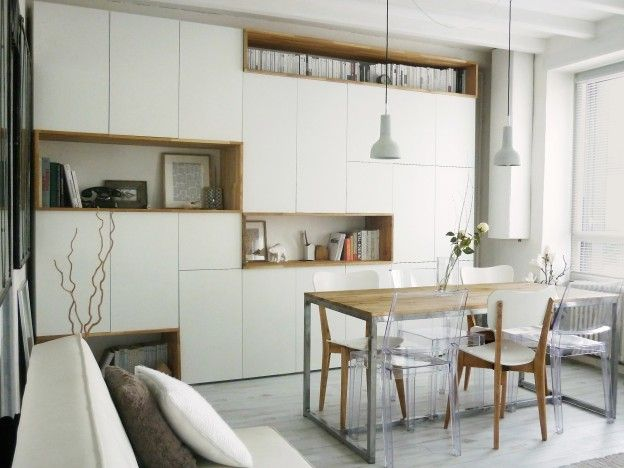 mur rangements blanc bois scandinave id es agencement. Black Bedroom Furniture Sets. Home Design Ideas