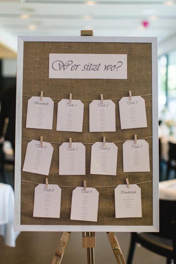 Sitzplan Tischplan bei der Hochzeit Hochzeitsfeier im Vintage