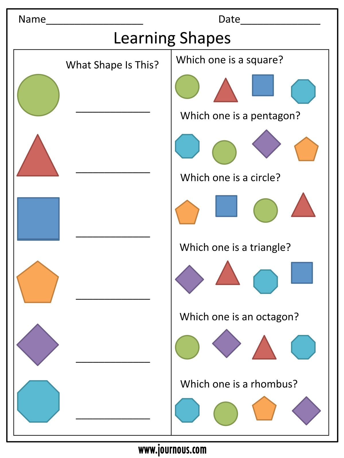 Learning Shapes Worksheet For Kindergarten
