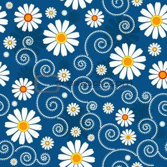 Dark Blue Floral Pattern