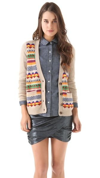 Love the sweater and the shirt - Madewell Pepe Patterned Cardigan