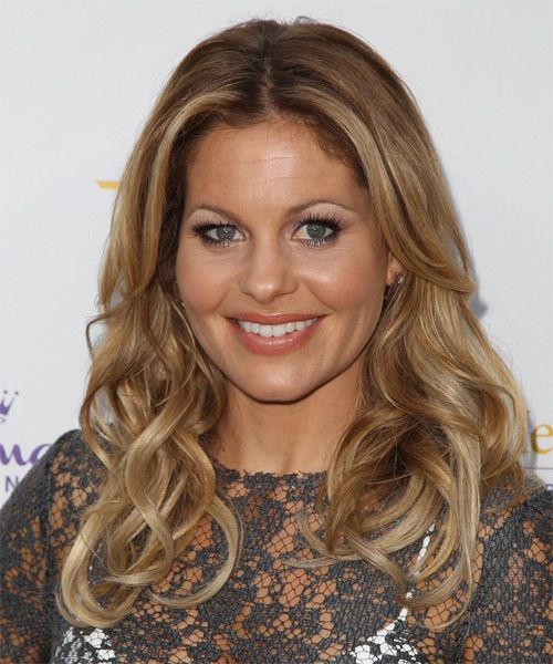 Candace Cameron Bure Long Wavy Dark Blonde Hairstyle with Light Blonde Highlights