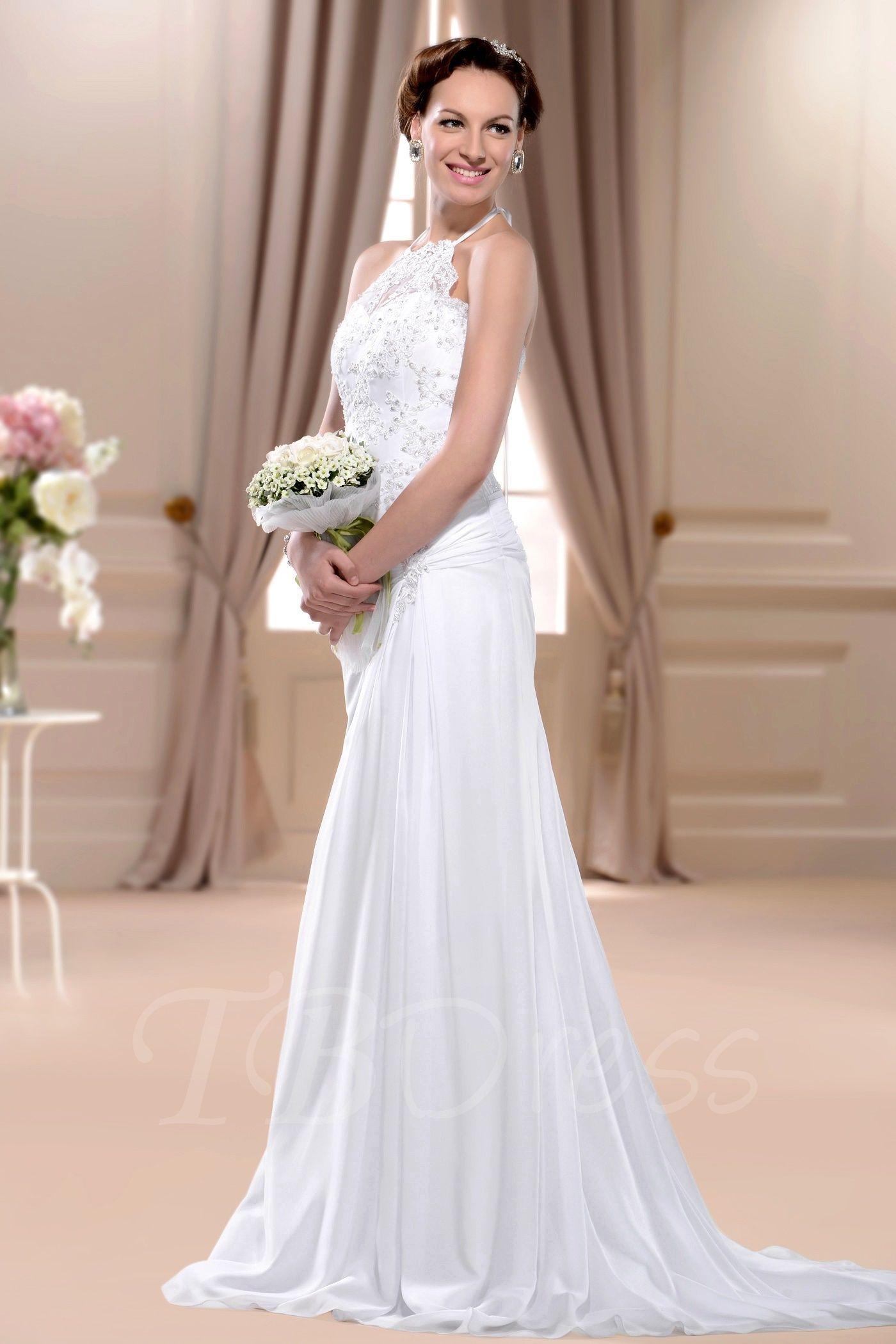 Sheathcolumn highneck sleeveless floorlength court wedding dress