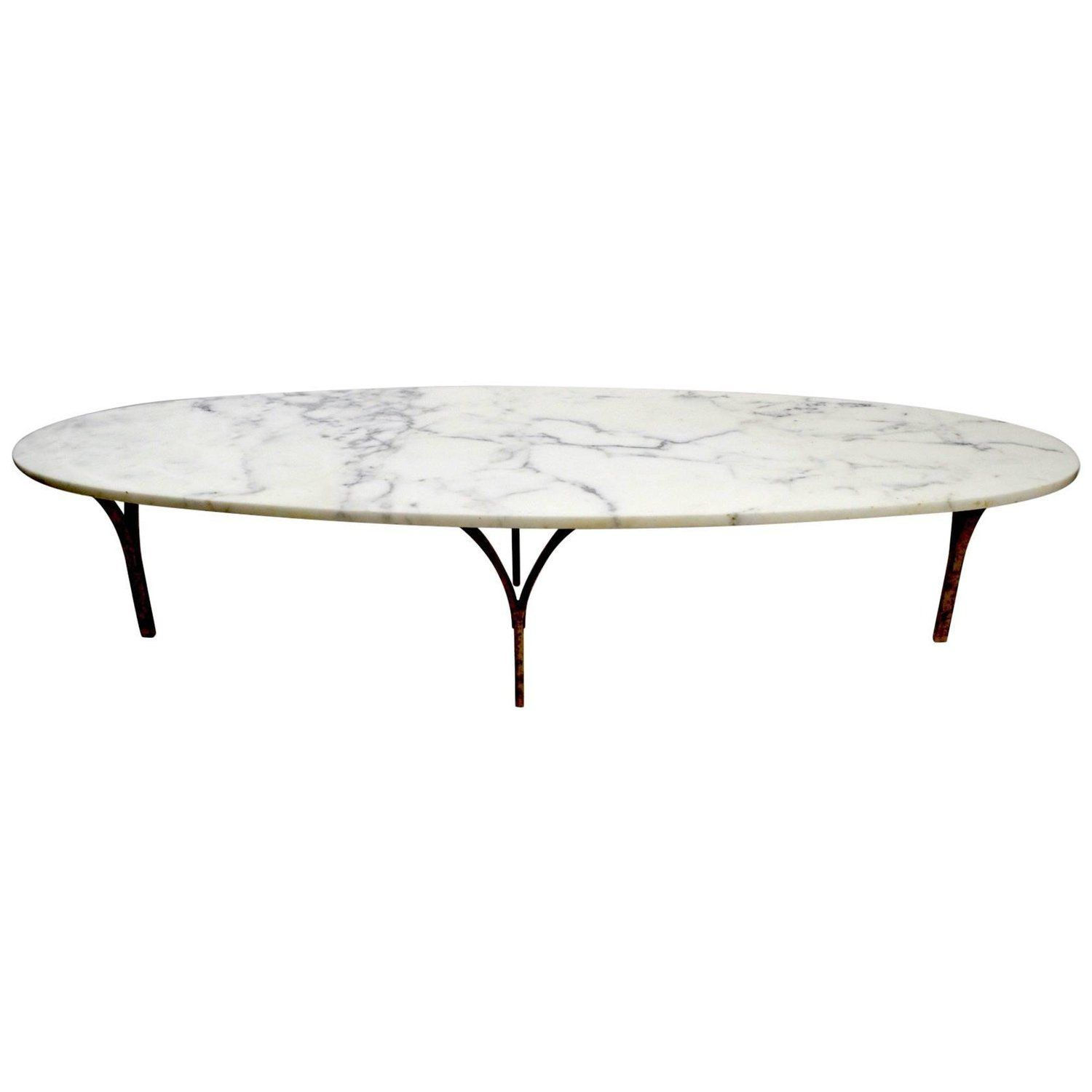 Oval Marble Top Coffee Table with Brass Legs